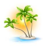 Eiland met palmen Stock Afbeelding