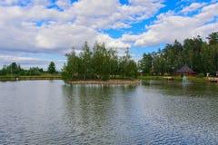 Eiland met een brug Royalty-vrije Stock Afbeelding