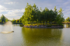 Eiland met een brug Royalty-vrije Stock Foto's