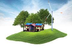 Eiland met huis en windgenerator die in de lucht drijven Stock Foto