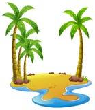 Eiland met kokospalmen Stock Afbeelding
