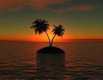 Eiland met palm bij zonsondergang Royalty-vrije Stock Fotografie