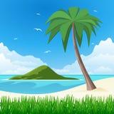 Eiland met palm op tropisch wit zand Royalty-vrije Stock Foto