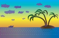 Eiland met palmen bij zonsondergang Royalty-vrije Stock Afbeeldingen