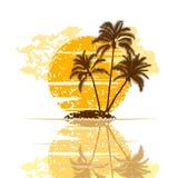 Eiland met palmen op een witte achtergrond Stock Afbeeldingen