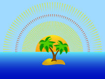 Eiland, palm en het overzees Stock Foto's