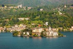 Eiland San Giulio Orta Lake, Italië Stock Foto