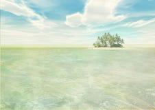 Eiland in tropische overzees stock illustratie