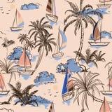Eiland van het de zomer het Uitstekende Mooie naadloze patroon met boot en w vector illustratie