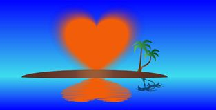 Eiland van het stijgende hart royalty-vrije illustratie