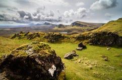 Eiland van skye, Quiraing-berg, het toneellandschap van Schotland stock foto