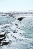 Eiland, Waterval, Water, Ijs, de Winter Stock Afbeeldingen