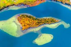 Eilanden op meer, lucht Stock Afbeelding