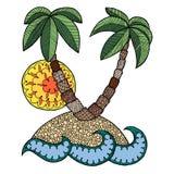 Eilandvector Het eiland zen verwart, eilandje zen krabbel, kleurende boekoverzees, zentangle oceaan, zendoodle palmen, zenart zon Stock Foto