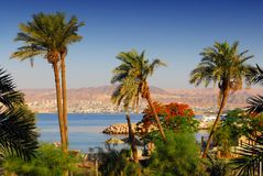 Eilat. View on Eilat in Israel from Aqaba in Jordan, diving destinations on the Red Sea Royalty Free Stock Image