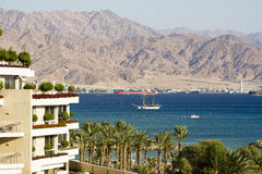 Eilat and Aqaba. The gulf of Aqaba with Eilat Israel in the foreground and Aqaba Jordan in the background Royalty Free Stock Image