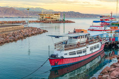 Eilat bay. Boat on calm water, Eilat, Israel Stock Photos