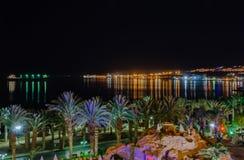 Eilat - de baai bij nacht Stock Fotografie