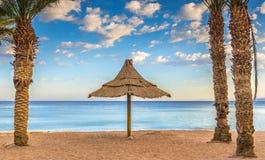 Morning on sandy beach in Eilat,  Israel Stock Photos