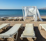 Morning at sandy beach of Eilat. Eilat is a famous resort city in Israel Stock Photography