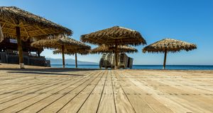Morning at sandy beach of Eilat. Eilat is a famous resort city in Israel Stock Image