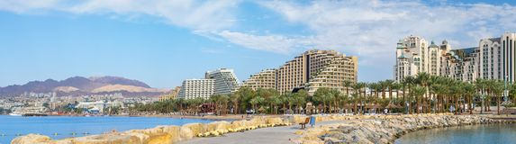 Eilat, Israel - November 06, 2012: Panoramic view on central beach in Eilat, Israel. Eilat is a famous resort and recreational city in Israel and well known Stock Photos