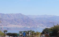Eilat gulf and Aqaba Stock Photography