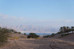 Eilat gulf. View to the Eilat gulf and Aqaba from wadi Shahamon, Eilat, Israel Stock Images