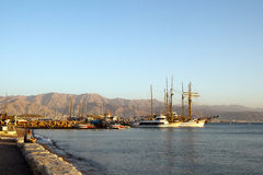 Eilat, Israël, December 2011 - Mening over de baai Royalty-vrije Stock Foto's