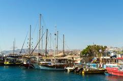 EILAT, ISRAEL – November 7, 2017: Marina with docked yachts and boats. EILAT, ISRAEL – November 7, 2017: Sunny morning at marina in Eilat with royalty free stock photography