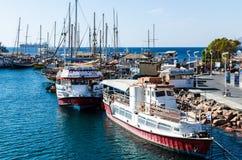 EILAT, ISRAEL – November 7, 2017: Marina with docked yachts. EILAT, ISRAEL – November 7, 2017: Sunny morning at marina in Eilat with docked yacht royalty free stock photo