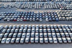EILAT, ISRAEL – November 7, 2017: new cars lined up in the cargo port of Eilat, Israel stock photo