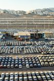 EILAT, ISRAEL – November 7, 2017: new cars lined up in the cargo port of Eilat, Israel stock image