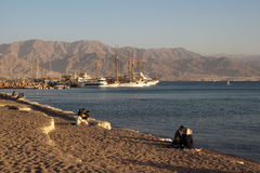 Eilat, Israel - Evening on the beach Royalty Free Stock Photography