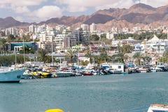 Docked yachts and boats in Eilat marina. Eilat, Israel - February 9, 2019: Docked yachts and boats in Eilat marina royalty free stock photography