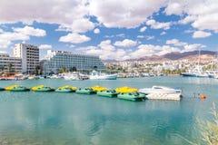 Docked yachts in Eilat marina. Eilat, Israel - February 9, 2019: Docked yachts in Eilat marina royalty free stock photo