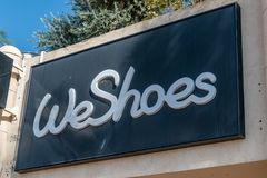 Logo and sign of WeShoes. WeShoes is southern branch of the chain of shoe stores royalty free stock image