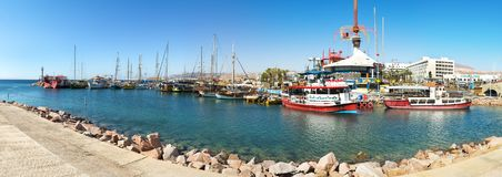 Eilat, Israel- March 17, 2018: Morning at central marina in Eilat, Israel. Serene day at central public marina and beach in Eilat, concept of tourism, travel and Royalty Free Stock Images