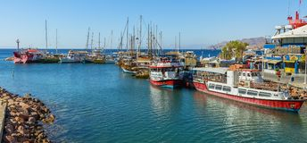 Eilat, Israel- March 17, 2018: Serene morning at central marina in Eilat, Israel Royalty Free Stock Photo