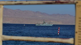 EILAT, ISRAEL - 28 MAY 2017: Military boat patrolling the waters near the border. Professional shot in 4K resolution. 101. You can use it e.g. in your stock video footage