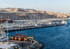 EILAT, ISRAEL – November 7, 2017: cargo port and new cars for sale in Eilat, Israel stock photos