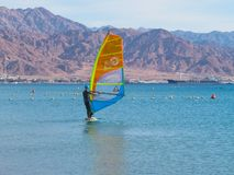 Windsurfer on the board with a sail moves on the Red Sea. Background - mountains stock photos