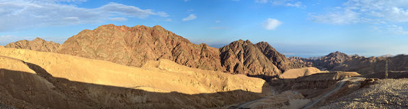 Eilat Mountains summit of King Solomon. And the Red Sea Royalty Free Stock Image