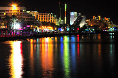 Eilat by night. Part of Eilat coastline at night Royalty Free Stock Images