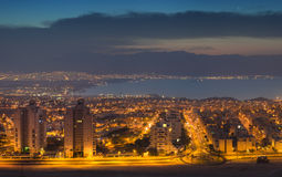 Eilat, panoramic view at twilight Royalty Free Stock Images