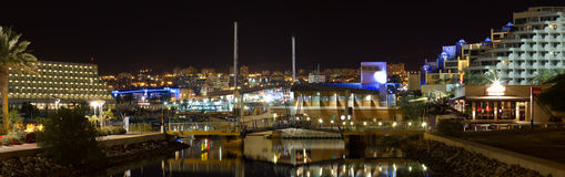 Eilat pier. Panorama and hotels area at night Stock Photo
