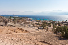 Eilat Red sea shoreline beach hotels. Stock Images