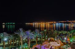 Eilat - zatoka przy nocą Fotografia Stock