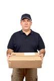 Eilbote, der ein Paket anhält Lizenzfreie Stockfotos