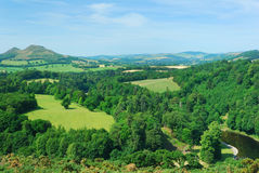 Eildon Hills from Scotts View with river Tweed Stock Photography